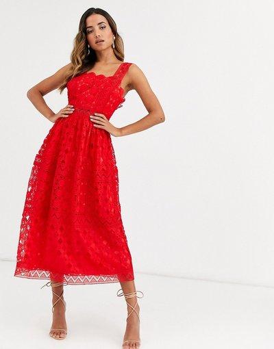 Vestito da cerimonia Rosso donna Vestito da prom midi con spalline in pizzo rosso - ASOS DESIGN