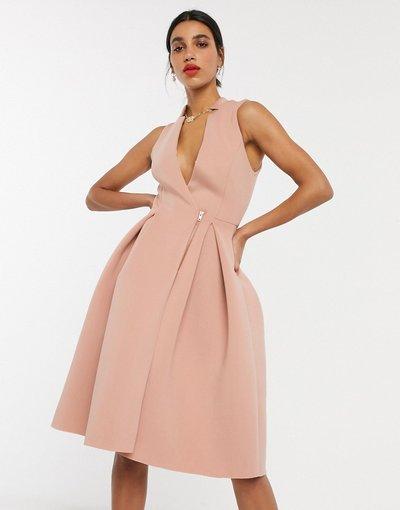 Beige donna Vestito da prom midi stile smoking con zip rosa mogano - ASOS DESIGN - Beige