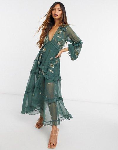 Verde donna Vestito grembiule midi con decori a grappolo - ASOS DESIGN - Verde