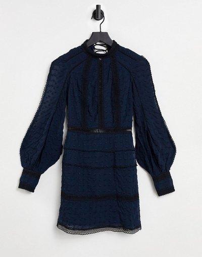 Blu navy donna Vestito in pizzo blu navy in stile vittoriano - ASOS DESIGN
