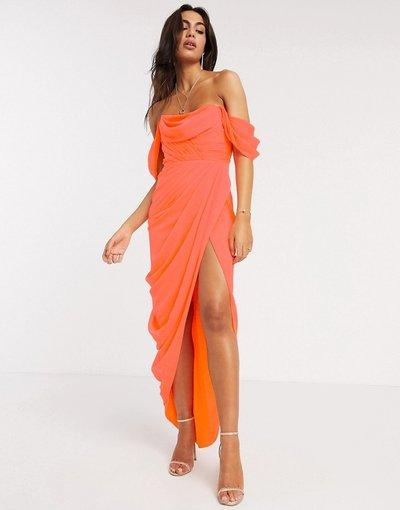 Eleganti lunghi Arancione donna Vestito lungo a fascia morbido a strati con gonna drappeggiata - ASOS DESIGN - Arancione