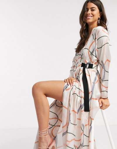 Eleganti pantaloni Multicolore donna Vestito lungo a portafoglio con stampa moderna - ASOS DESIGN - Multicolore