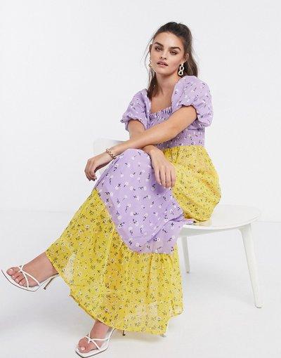 Eleganti lunghi Multicolore donna Vestito lungo a strati con bustino arricciato, maniche a sbuffo e stampa a fiori mista - ASOS DESIGN - Multicolore