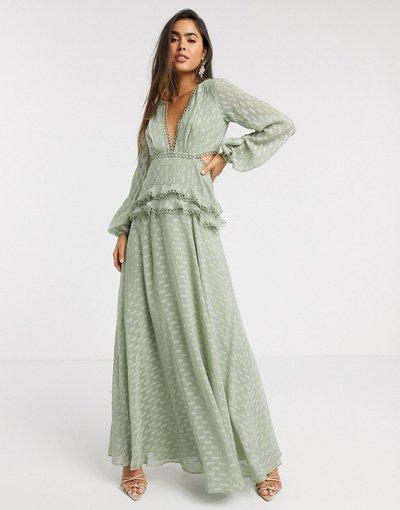 Eleganti lunghi Verde donna Vestito lungo a strati in jacquard con dettagli in pizzo salvia - ASOS DESIGN - Verde