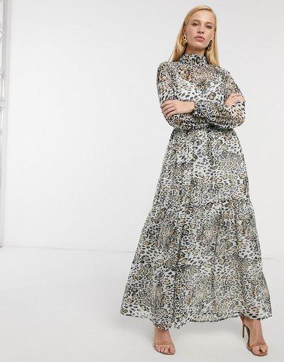 Eleganti lunghi Multicolore donna Vestito lungo accollato morbido con stampa leopardata - ASOS DESIGN - Multicolore