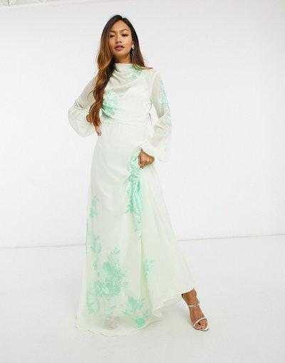 Grigio donna Vestito lungo accollato ricamato verde menta tenue - ASOS DESIGN - Grigio