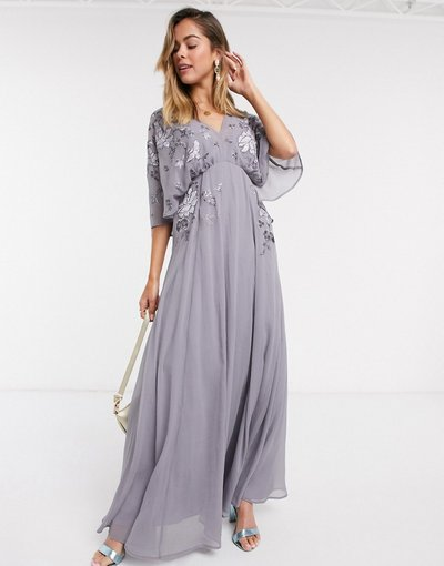 Eleganti lunghi Viola donna Vestito lungo blouson ricamato con mantella sul retro - ASOS DESIGN - Viola