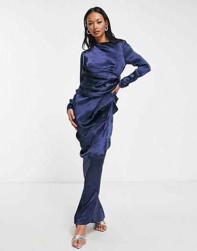 Blu navy donna Vestito lungo con collo alto drappeggiato blu navy a maniche lunghe - ASOS DESIGN