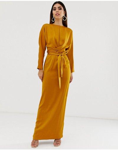 Oro donna Vestito lungo con maniche a pipistrello a portafoglio in raso - ASOS DESIGN - Oro