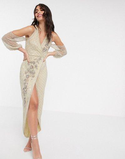 Eleganti lunghi Crema donna Vestito lungo con motivi a reticolo e a fiori e maniche a campana - ASOS DESIGN - Crema
