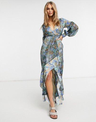 Eleganti lunghi Multicolore donna Vestito lungo con stampa mista a fiorellini e cintura - ASOS DESIGN - Multicolore