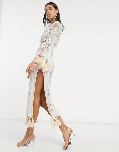 Crema donna Vestito lungo decorato con cut - ASOS DESIGN - out e nappe - Crema