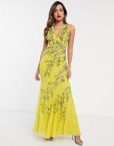Giallo donna Vestito lungo in chiffon con taglio in sbieco e decorazione floreale - ASOS DESIGN - Giallo