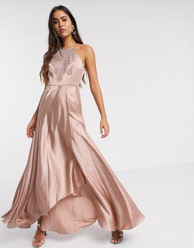 Beige donna Vestito lungo in raso oro rosa con scollo decorato - ASOS DESIGN - Beige