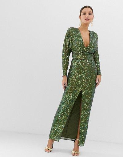 Verde donna Vestito lungo incrociato in vita con paillettes sparse e maniche a pipistrello - ASOS DESIGN - Verde
