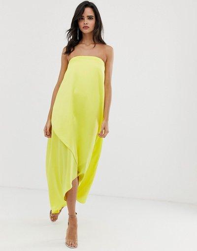 Giallo donna Vestito midi a fascia in raso - ASOS DESIGN - Giallo
