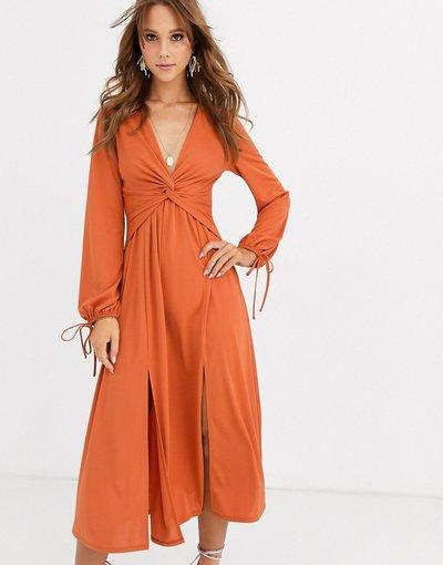 Arancione donna Vestito midi a maniche lunghe intrecciato sul davanti - ASOS DESIGN - Arancione