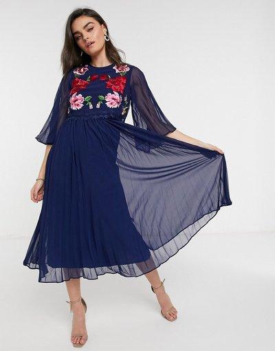 Blu navy donna Vestito midi a pieghe a doppio strato blu navy con ricami - ASOS DESIGN