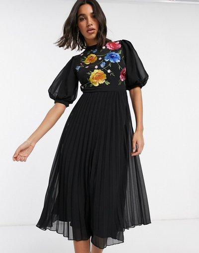Eleganti longuette Nero donna Vestito midi a pieghe accollato ricamato con maniche a sbuffo nero - ASOS DESIGN