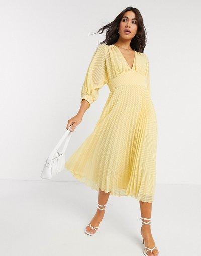Giallo donna Vestito midi a pieghe con maniche ad ali di pipistrello in tessuto a pallini a spina di pesce giallo - ASOS DESIGN