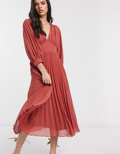 Eleganti pantaloni Rosso donna Vestito midi a pieghe con maniche ad ali di pipistrello in tessuto a pallini a spina di pesce ruggine - ASOS DESIGN - Rosso