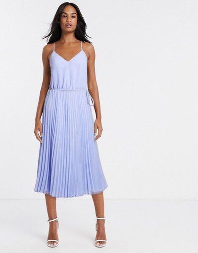 Eleganti pantaloni Blu donna Vestito midi a pieghe con spalline sottili e coulisse in vita blu fiordaliso - ASOS DESIGN