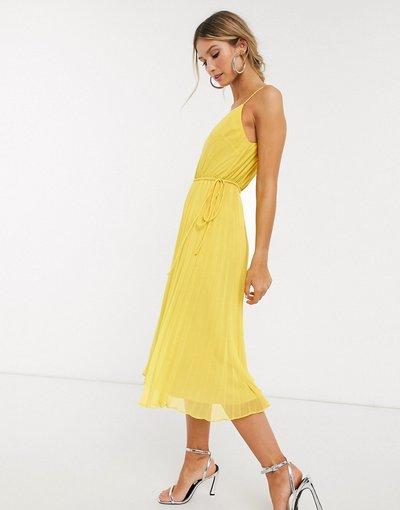 Giallo donna Vestito midi a pieghe con spalline sottili e coulisse in vita giallo - ASOS DESIGN