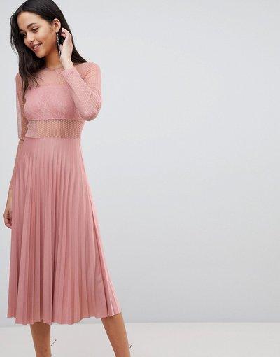 Beige donna Vestito midi a pieghe con top in pizzo a pallini e maniche lunghe color visone - ASOS DESIGN - Beige