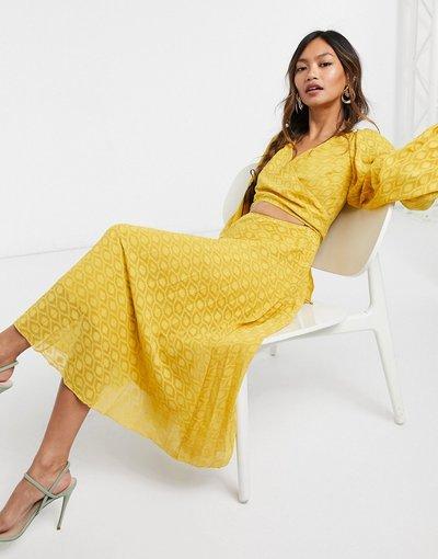 Giallo donna Vestito midi a portafoglio allacciato in plumetis a pieghe senape - ASOS DESIGN - Giallo
