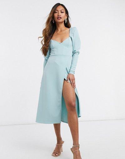 Blu donna Vestito midi a portafoglio stile corsetto con maniche a sbuffo salvia polvere - ASOS DESIGN - Blu