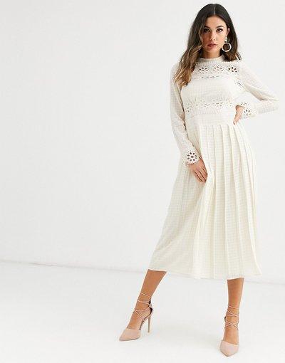 Crema donna Vestito midi accollato a pieghe con inserti in pizzo - ASOS DESIGN - Crema