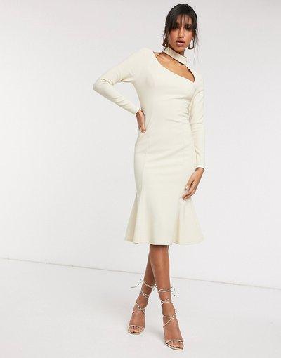 Crema donna Vestito midi accollato color sabbia a coste con maniche lunghe e cut - ASOS DESIGN - Crema - out