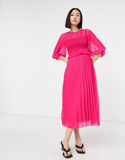 Eleganti gonna Rosa donna Vestito midi arricciato a pieghe in plumetis rosa vivo - ASOS DESIGN