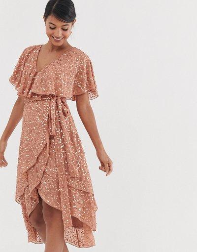 Beige donna Vestito midi asimmetrico con retro a mantella e paillettes - ASOS DESIGN - Beige