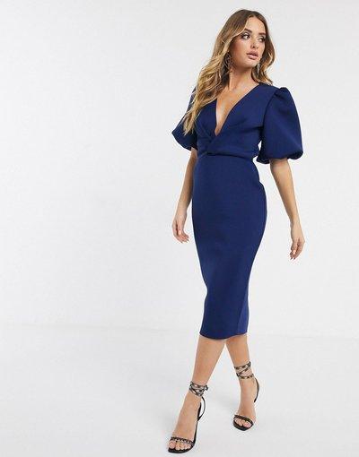 Blu navy donna Vestito midi con incrocio e maniche a palloncino colore blu navy - ASOS DESIGN