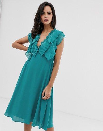 Blu donna Vestito midi con maniche a doppio strato e bordo smerlato - ASOS DESIGN - Blu