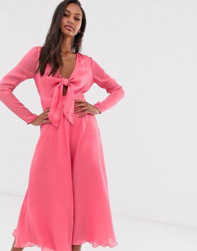 Eleganti longuette Rosa donna Vestito midi con nodo in jacquard - ASOS DESIGN - Rosa