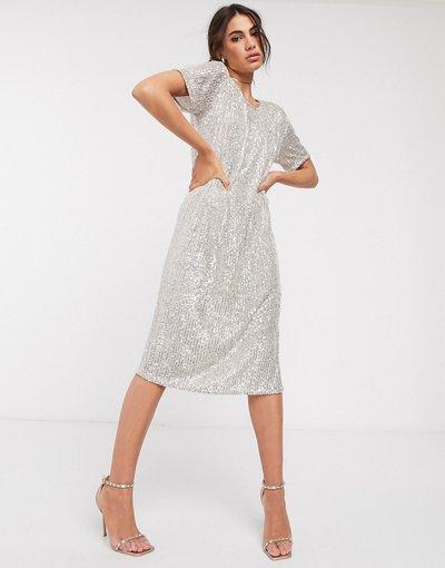 Argento donna Vestito midi con paillettes e schiena scoperta color argento - ASOS DESIGN