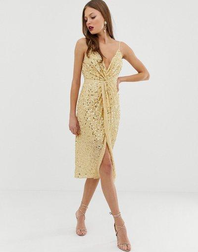 Oro donna Vestito midi con spalline sottili, scollo profondo con nodo sul davanti e paillettes - ASOS DESIGN - Oro