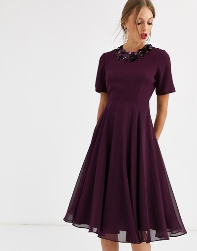 Viola donna Vestito midi con top corto e scollo decorato - ASOS DESIGN - Viola