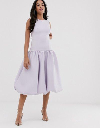 Eleganti longuette Viola donna Vestito midi con vita scesa e fondo a palloncino - ASOS DESIGN - Viola