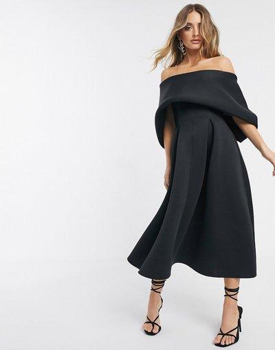 Vestito da cerimonia Nero donna Vestito midi da prom minimal con risvolto sulla parte superiore - ASOS DESIGN - Nero