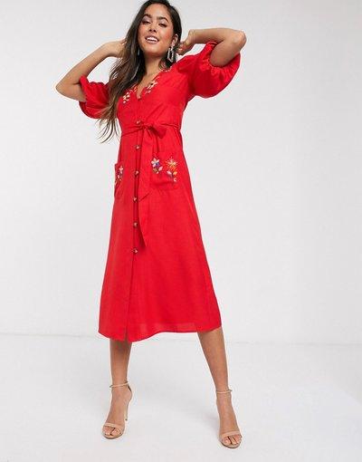 Eleganti pantaloni Rosso donna Vestito midi dal giorno ruggine ricamato con bottoni e maniche a sbuffo - ASOS DESIGN - Rosso