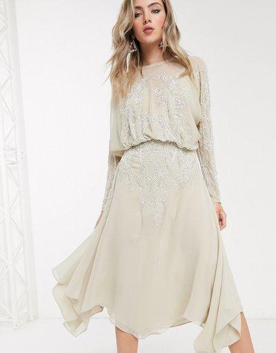 Beige donna Vestito midi decorato con maniche lunghe a campana - ASOS DESIGN - Beige