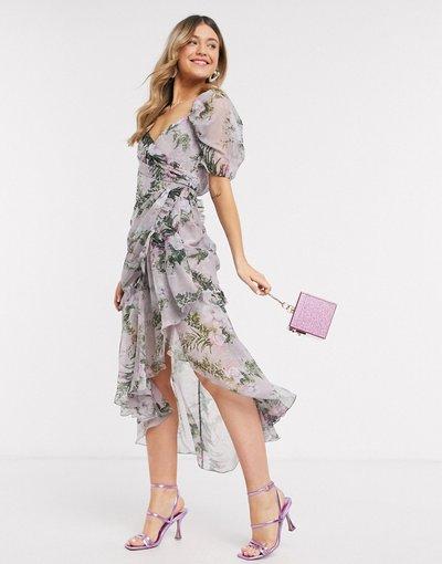 Eleganti con scollo Multicolore donna Vestito midi drappeggiato con gonna a portafoglio, bordi grezzi e rose - ASOS DESIGN - Multicolore