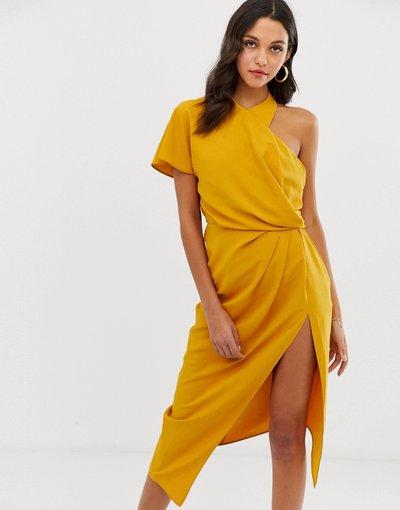 Giallo donna Vestito midi drappeggiato con scollo asimmetrico - ASOS DESIGN - Giallo
