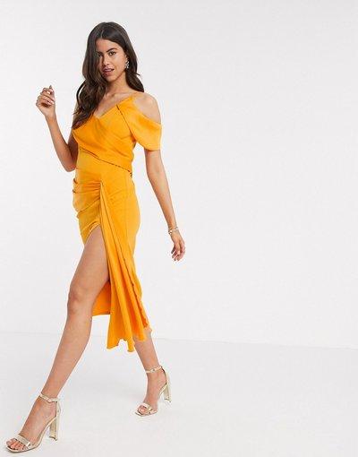Arancione donna Vestito midi drappeggiato con spalline sottili arancione - ASOS DESIGN