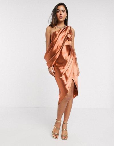Arancione donna Vestito midi drappeggiato monospalla - ASOS DESIGN - Arancione