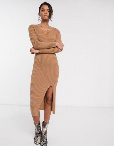 Pietra donna Vestito midi in maglia a coste con dettaglio a portafoglio - ASOS DESIGN - Pietra