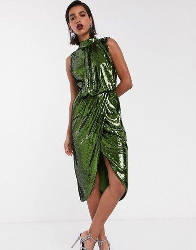 Verde donna Vestito midi in paillettes drappeggiato sul davanti - ASOS DESIGN - Verde